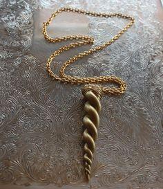 Gold Unicorn horn necklace -