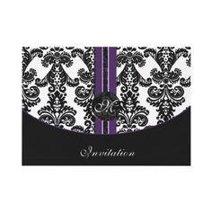 #damask #purple #wedding #invitation