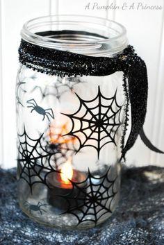 spiderweb mason jar A Pumpkin and a Princess made this spiderweb mason jar and it has the perfect amount of spook.