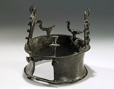 The World's Oldest Crown The crown was discovered in a remote cave in the Judaean Desert near the Dead Sea in 1961 among hundreds of other objects from the period. The ancient relic, which dates back to the Copper Age between 4000–3300 B.C., is shaped like a thick ring and features vultures and doors protruding from the top.