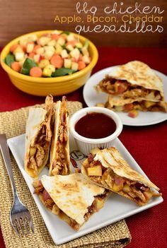 BBQ Chicken, Apple, Bacon, Cheddar Quesadillas