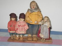 1930's Russian Cloth Peasant Doll Family Stockinette Mother, 3 Kids Soviet Union