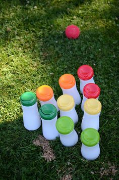 bowling pins made from empty puff containers