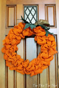 Burlap pumpkin-colored wreath tutorial. By the talented @meetuatthefence sisters!
