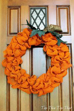 Orange Burlap pumpkin.  Perfect for your fall door!
