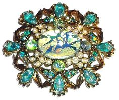 HOLLYCRAFT - Beautiful Foil Glass Stones - Vintage Brooch