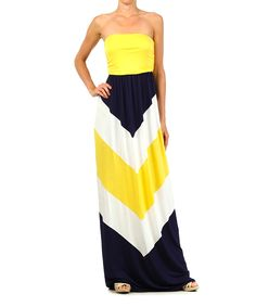 Yellow & Navy Chevron Strapless Maxi Dress