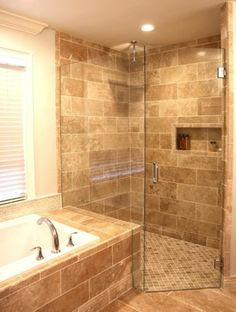 Traditional Bathroom curbless shower Design Ideas, Pictures, Remodel and Decor decor, glass wall, dream, walnut travertine, tile shop, bathroom designs, bathroom remodel, curbless shower, glass shower