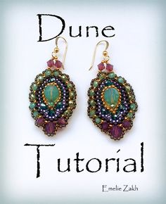 Dune Beading tutorial.Beaded pattern earrings. ! PDF file containing instructions .