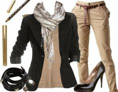 Black blazer, high heel, scarf and office pent fashion | Fashion and styles