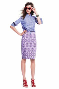 Purple Patterned Pencil Skirt.  Inspirational Print for Spring Work Days.
