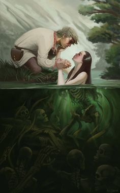 A fantastic depiction of 'Rusalka', A mythical water spirit who lures young men into water to drown them. Fantasy, Truths Lying, Kamil Jadczak, Mythical Water, Illustration, Art, Slavic Mythology, Water Spirit, Fantastic Depicting