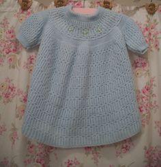 1960 vintage hand knit baby girl dress, powder blue, pink rosebuds.