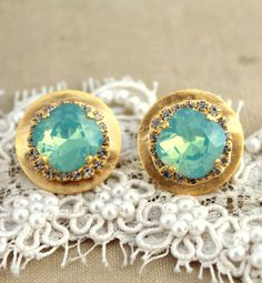 Mint Crystal stud big round earring - 14 k plated gold post earrings real swarovski rhinestones.