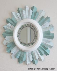 design homes, sunburst mirror, diy tutorial, diy crafts home, ceiling medallions, scrapbook paper, diy mirror, paper beads, diy projects