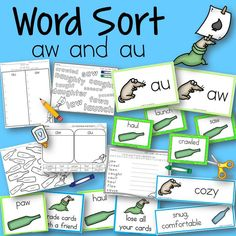 Word Sort aw and au Harcourt Trophies