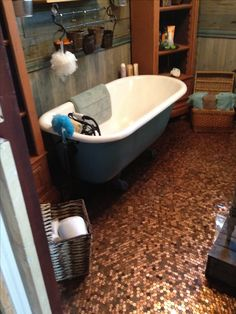 Vintage bathroom with penny floor done with my own hands.....
