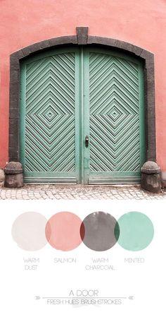 mints, the doors, green doors, coral, mint green, inspiration, colors, colorful doors, entrance doors