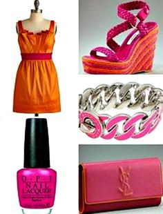 Tangerine and Fuchsia....Love these colors!  Pink & Orange wedding colors ;)