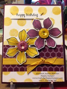 Stampin Up Blendabilities and Beautiful bunch floral stamp set. birthday card.