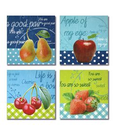Loving this Fruit Wall Plaque Set on #zulily! #zulilyfinds