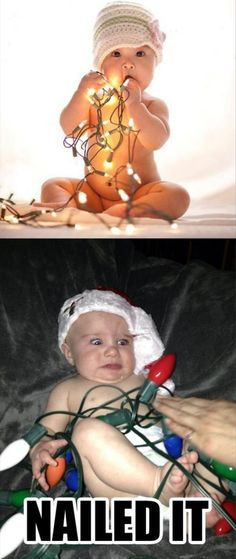 This is funny, but what's NOT funny is the extremely high levels of lead in most Christmas lights. PLEASE don't let babies chew on the cords, or put them anywhere near children. There are, of course, some that do not contain lead, but I never EVER lay them on children or let them play with them. Safety first please C: