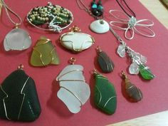 My jewellery from the gems i found:  ~ sea glass report submitted byZee in Italy  Majan Beach - Muscat, Oman Mostly white, green and some brown. Only found 2 blue.  They tend to be