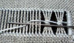 Drawn Thread Embroidery: Bunching threads together with a chain loop drawn thread