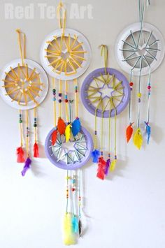 Paper Plate Crafts for Kids Make super cute Dream Catchers with Heart & Star details
