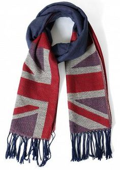 Union Jack Pattern Scarf in Blue-Red
