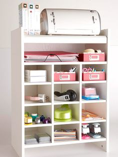 This shoe organizer makes a great printer stand with storage space.