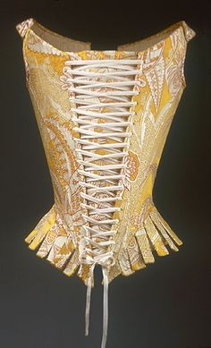 Corset (Stays), 1770s  Italian  Yellow, red, and ivory silk compound weave