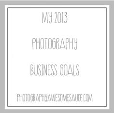 My 2013 Business Goals » Photography Awesomesauce