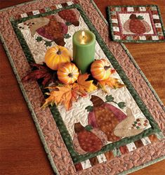 Pumpkin Patch table runner and hot pad