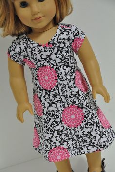 American Girl Doll Clothes  Cute Black, White and Pink Summer Knit Dress  18 inch on Etsy, $14.00