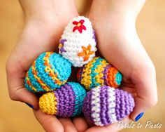#Crochet Mini Easter Eggs with Lion Brand Bonbons from the Petals to Picot blog - what a great idea for those mini skeins!