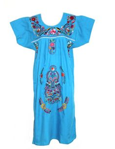 Amazon.com: Leos Mexican Imports Mexican Dress Puebla (M, Aqua): Clothing