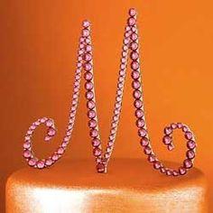 Swarovski Crystal Monogram Cake Topper
