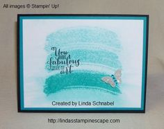 Work of Art Stamp Set by Stampin' Up! from the new 2014-15 Annual Catalog!  I'm using Bermuda Bay to create the OMBRE Technique... full details are on my blog: http://lindasstampinescape.com  Linda Schnabel Stampin' Up! demonstrator :) stamp sets, work of art stampin up, stampin up 2014-15 catalog, stampin up new catalog 2014, work of art stamp set