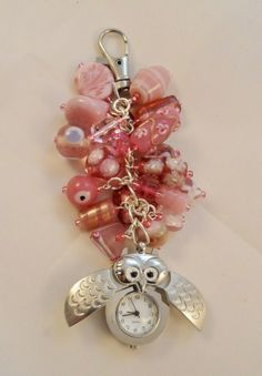Pink Beaded Bag Charm with Owl Watch Fob - REDUCED £4.00 by Red Devil Crafts