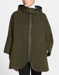 Just gorgeous! This wool blend hooded cape is a fall must-have.
