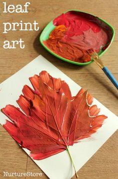 Fall leaf print art - making leaf crowns and books