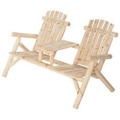 Double Cedar/Fir Log Adirondack Chair with Table, Model# SS-CSN-150
