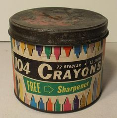 1960s Cardboard Canister 104 Crayons