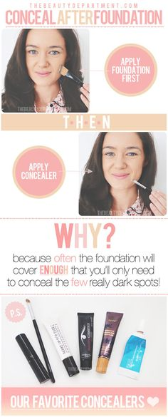 Makeup tricks! #beauty #foundation #makeup From: The Beauty Department http://thebeautydepartment.com/2013/04/quick-tip-when-to-apply-concealer/#_a5y_p=1236470