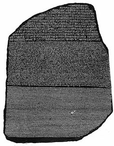 The Rosetta Stone, an ancient Egyptian granodiorite stele inscribed with a decree issued at Memphis in 196 BC on behalf of King Ptolemy V. The decree appears in three scripts: the upper text is Ancient Egyptian hieroglyphs, the middle portion Demotic script, and the lowest Ancient Greek. Because it presents essentially the same text in all three scripts, it provided the key to the modern understanding of Egyptian hieroglyphs. On public display at the British Museum in London since 1802.
