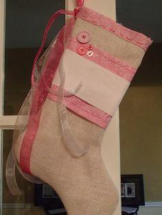 Burlap & Pink stocking