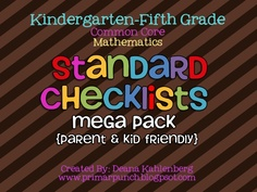 K-5 Math Standards Checklists that are kid and parent friendly (each available separately too!)