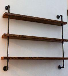 Wood Shelving Unit, Wall Shelf, Industrial Shelves, Rustic Home Decor on Etsy, $200.00