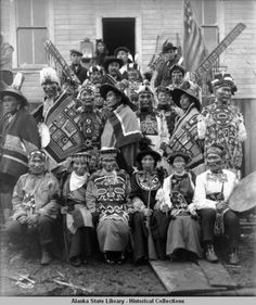 Tlingits in ceremonial regalia for 1904 potlatch. :: Alaska State Library-Historical Collections